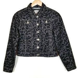 JUSTICE Black Velvet Animal Print Denim Jacket 14